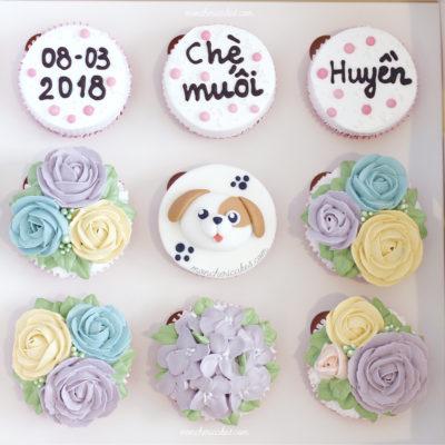 Cupcake bắt hoa và chữ