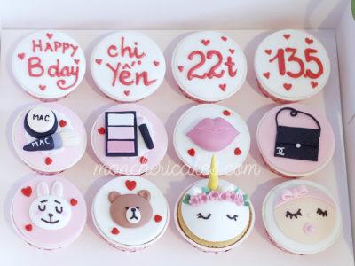 Set cupcake fondant tông hồng đáng yêu