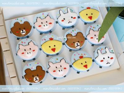 Bánh cupcake vẽ hình thú dễ thương