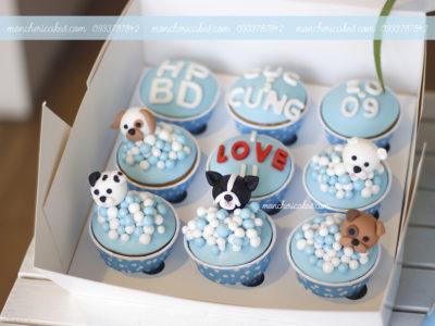 Cupcake các chú cún con đang tắm